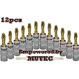 Mutec -24K vergoldet High End Bananenstecker für Lautsprecherkabel- 12 Stuck
