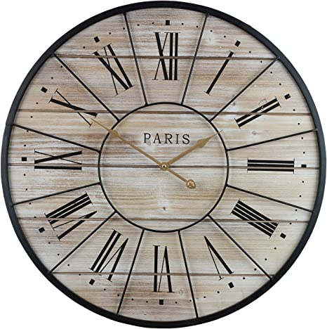Sorbus Paris Oversized Wall Clock Centurion Roman Numeral Hands Parisian French Country Rustic Large Decorative Modern Farmhouse Decor Ideal For Living Room Analog Wood Metal Clock 24 Round Amazon Ca Home Kitchen