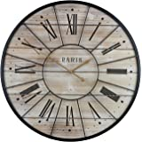 Sorbus Paris Oversized Wall Clock, Centurion Roman Numeral Hands, Parisian French Country Rustic Large Decorative Modern…