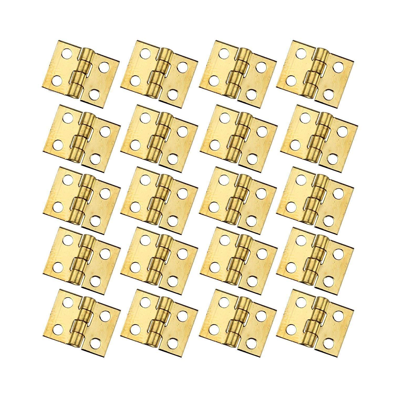 Rzdeal 50 pcs Mini Charniè res Charniè res 8 x 10 mm avec vis de cuivre pour maison de poupé e miniature meubles Armoire de cabinet