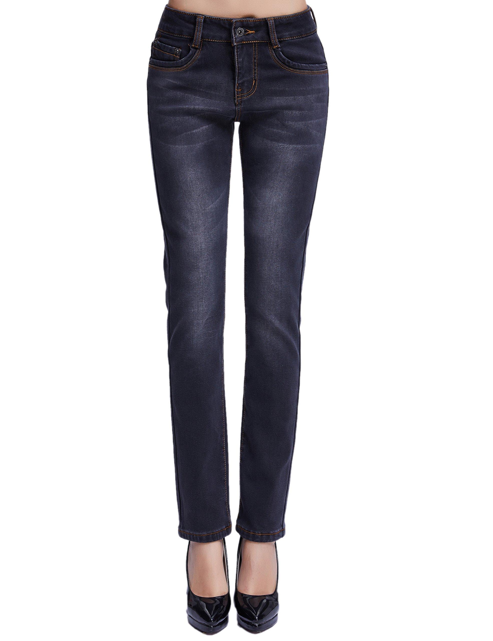 Camii Mia Women's Winter Slim Fit Thermal Jeans Pants (W28 x L32, Black (New Size))