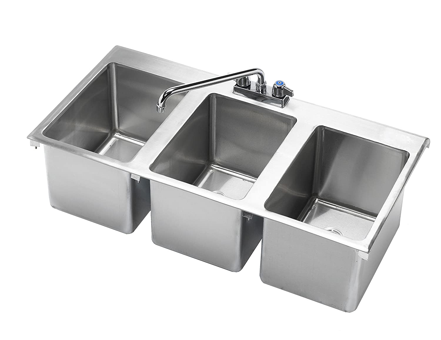krowne 36 x 18 three compartment drop in hand sink hs 3819 - Three Compartment Kitchen Sink