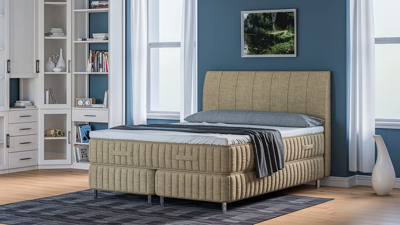 original boxspringbett 7 gr en 4 h rtegrade 20 farben kaltschaumvariante 120 x 200 cm sand. Black Bedroom Furniture Sets. Home Design Ideas