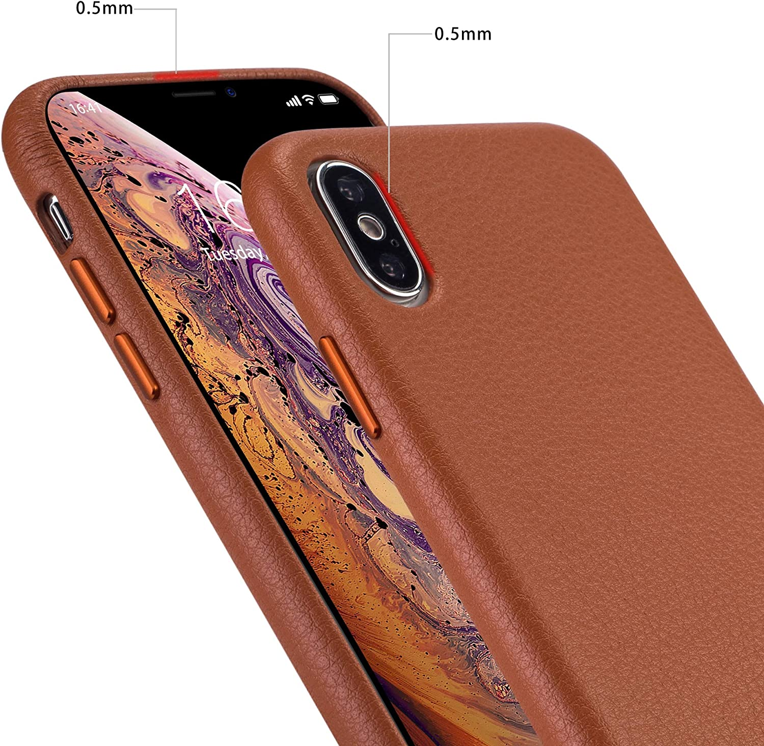 rejazz iPhone x Case iPhone Xs Case Anti-Scratch iPhone x Cover iPhone Xs Cover Genuine Leather Apple iPhone Cases for iPhone x/xs (5.8 Inch)(Brown)