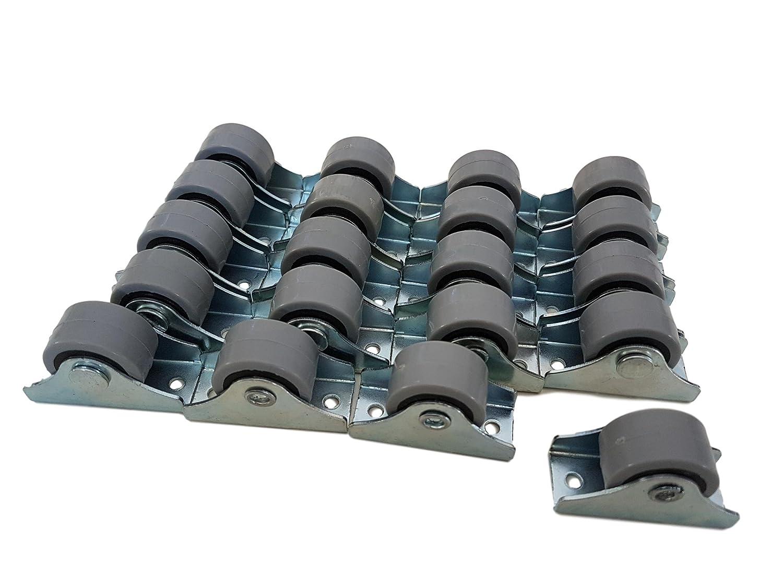 Doppelrollen Ger/äte /& Ausr/üstung 25/mm Gummirollen-Set aus Kunststoff drehbar f/ür M/öbel Metall mit Platte kleine Mini-Rollen