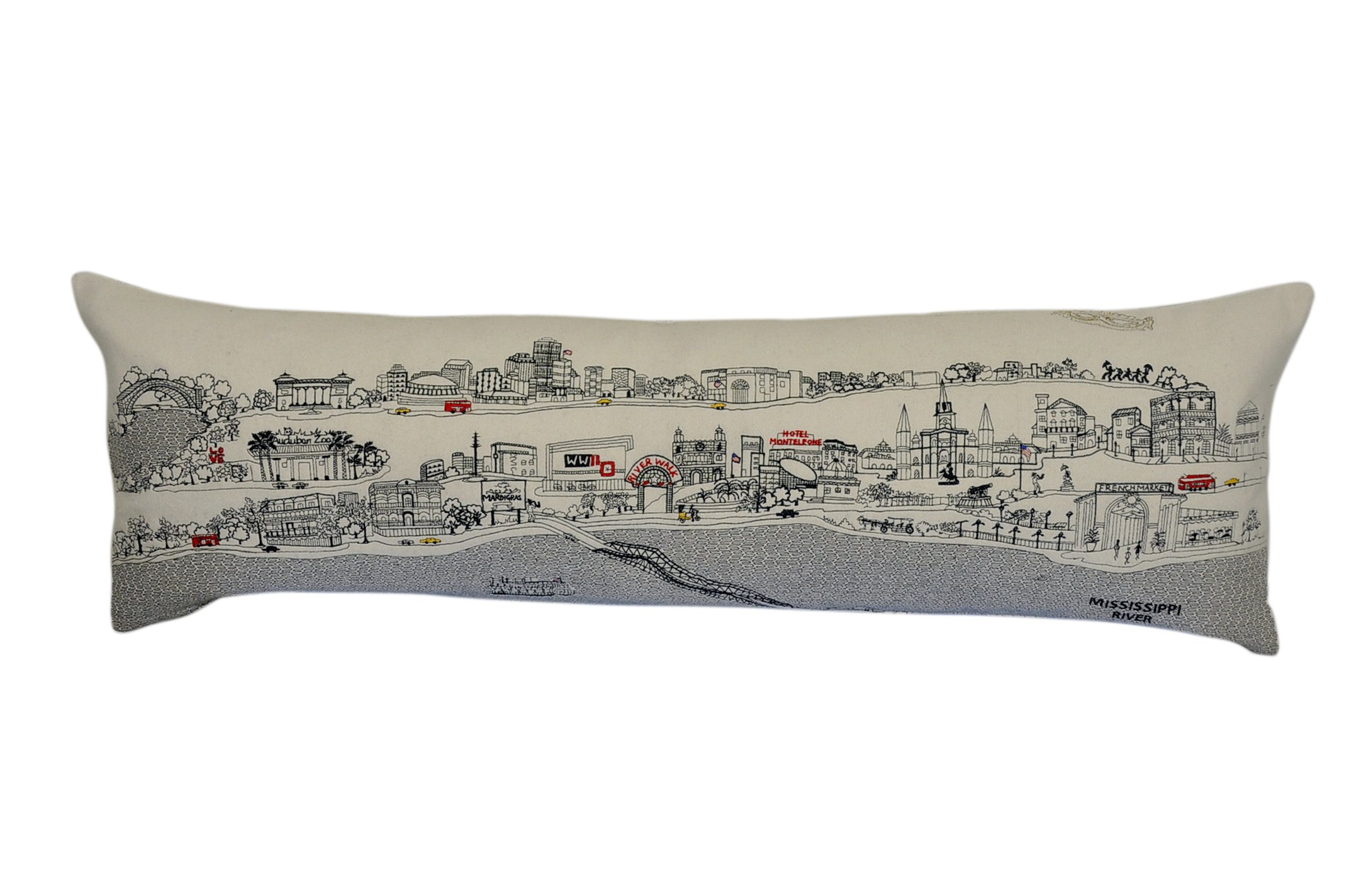 Beyond Cushions Polyester Throw Pillows Beyond Cushions New Orleans Daytime Skyline King Size Embroidered Accent Pillow 46 X 14 X 5 Inches Off-White Model # NOL-DAY-KNG