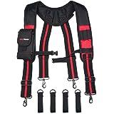 Melo Tough Tool Belt Suspenders Construction Work Suspenders with detachable phone holder comfortable foam shoulder padder (R