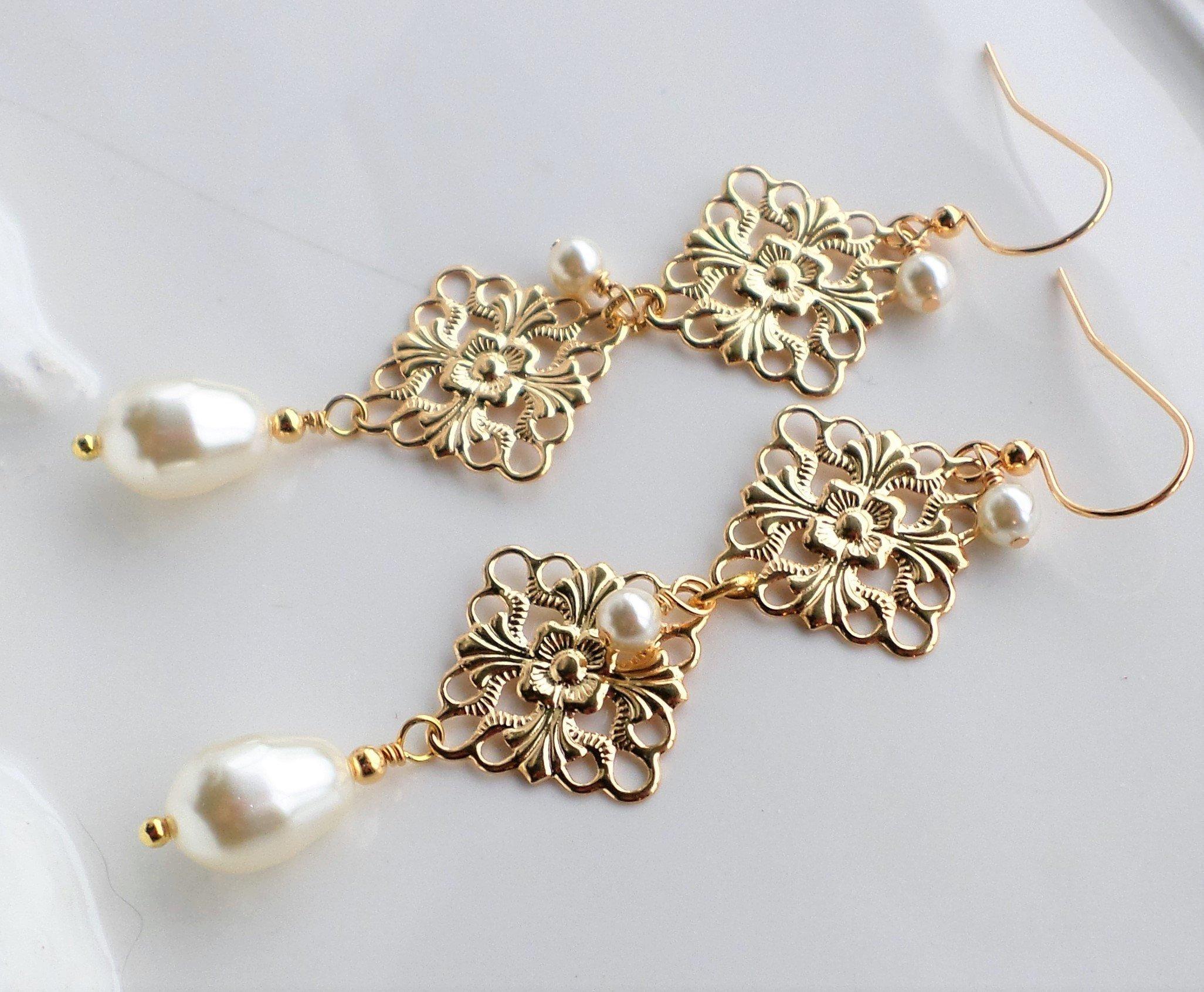 Cream Pearl Gold Filigree Long Wedding Earrings