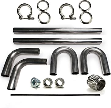 2.5 Squirrelly Universal 304 Stainless Steel Mandrel Bend Intercooler Pipe Kit with Black Couplers 30 45 90 Degree Tubing Piping