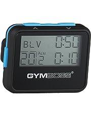 Gymboss Intervall-Timer und Stoppuhr mit Silikonschützhülle, schwarz/blau.
