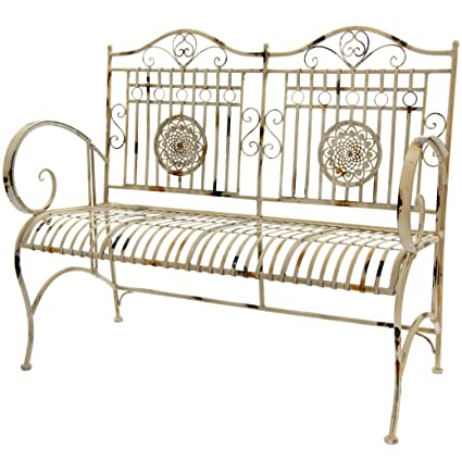Oriental Furniture Rustic Metal Garden Bench - Distressed White