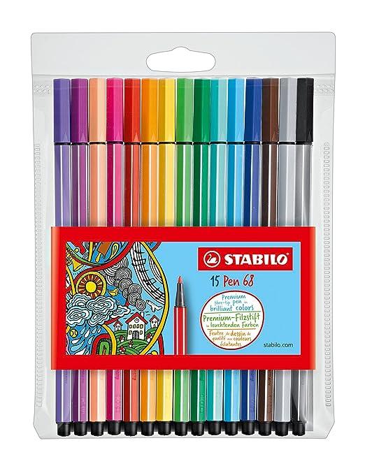 78 opinioni per STABILO Pen 68 Pennarelli colori assortiti- Astuccio da 15