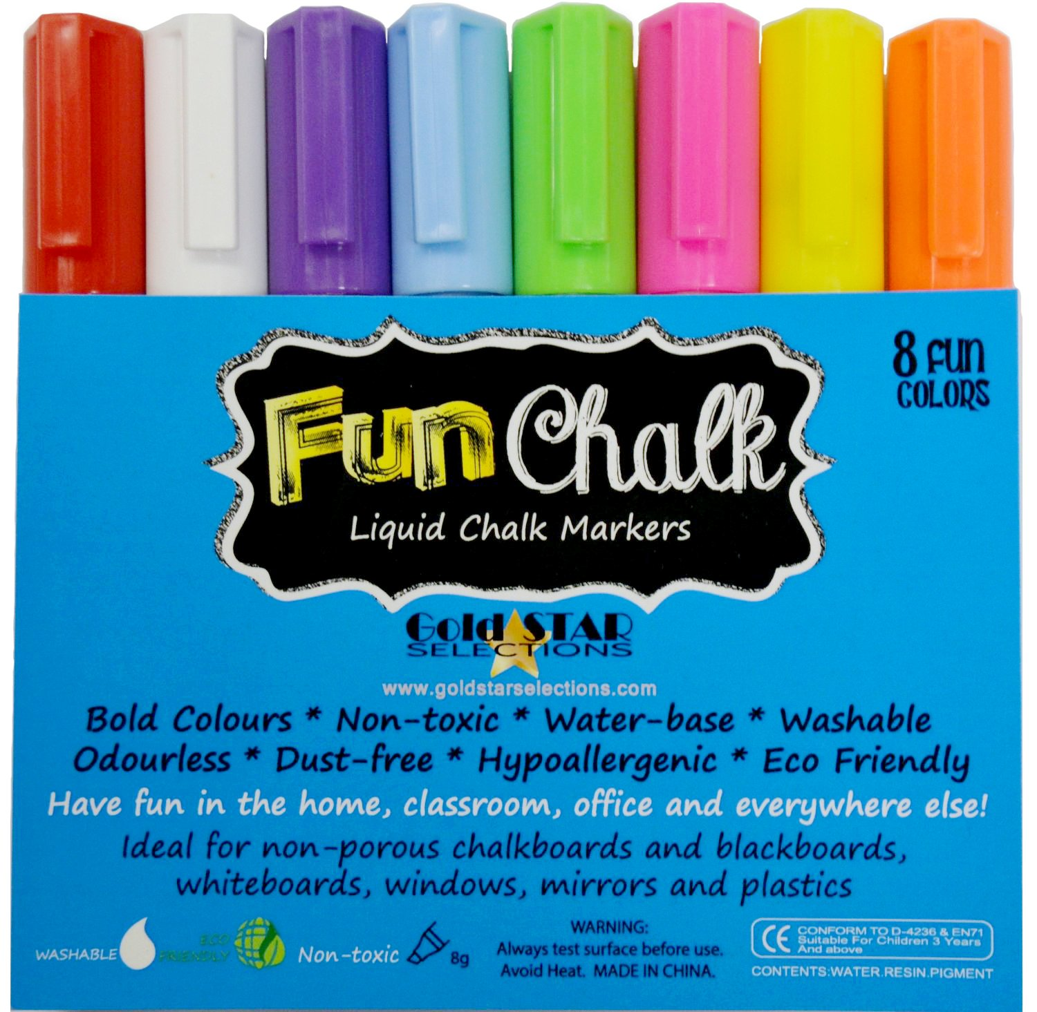 Chalk Markers with Reversible Tip - Ideal for Blackboards, Windows, Non-porous Chalkboards, Whiteboards, Plastics, Bistro Boards, Mirrors, Teachers, Kids, Arts and Crafts, Office and More - Odor Free, Non-toxic Neon Liquid Chalk Pens - Bold Colors & White