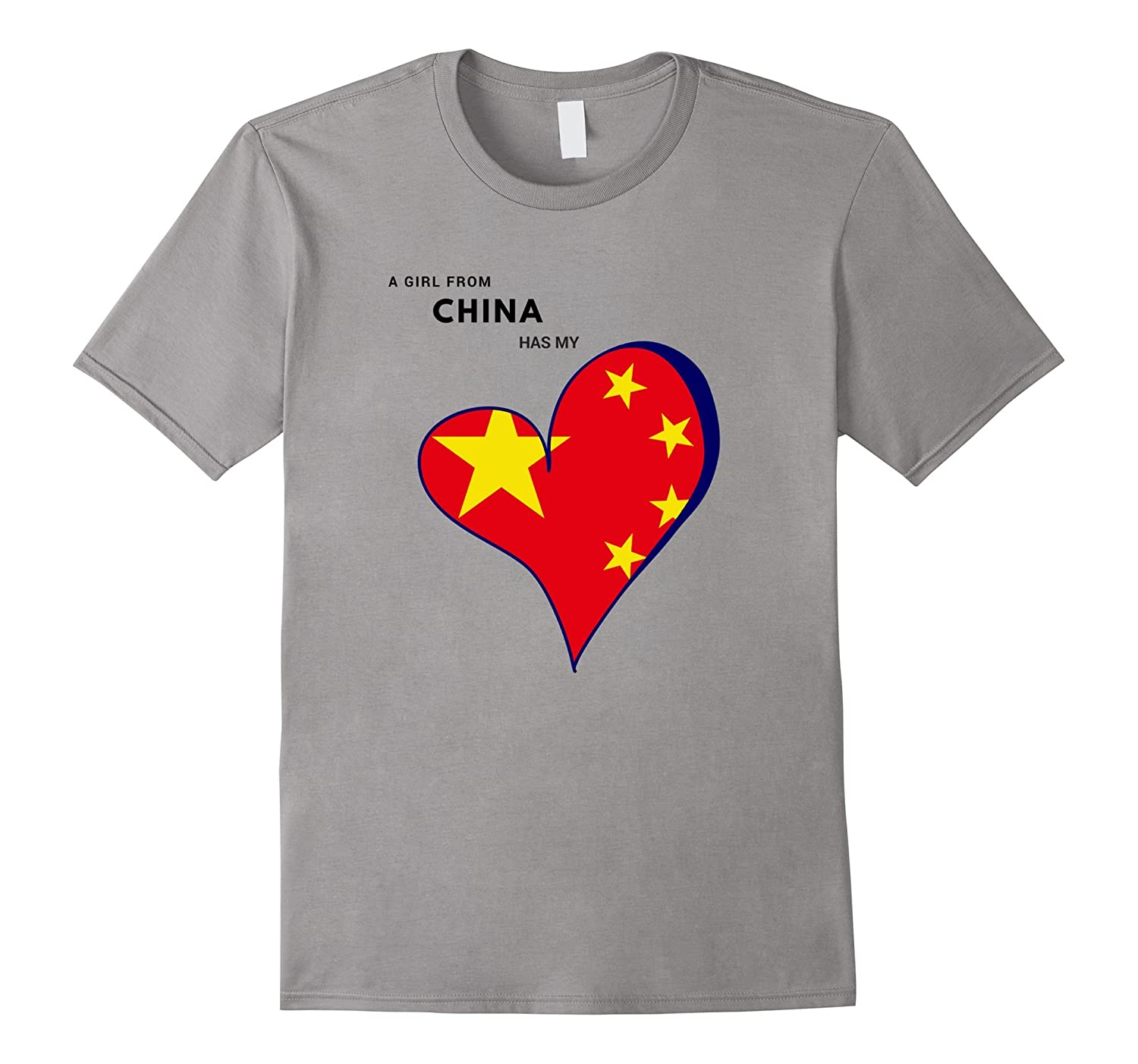 A Girl From China Has My Heart Flag T-shirt-Rose