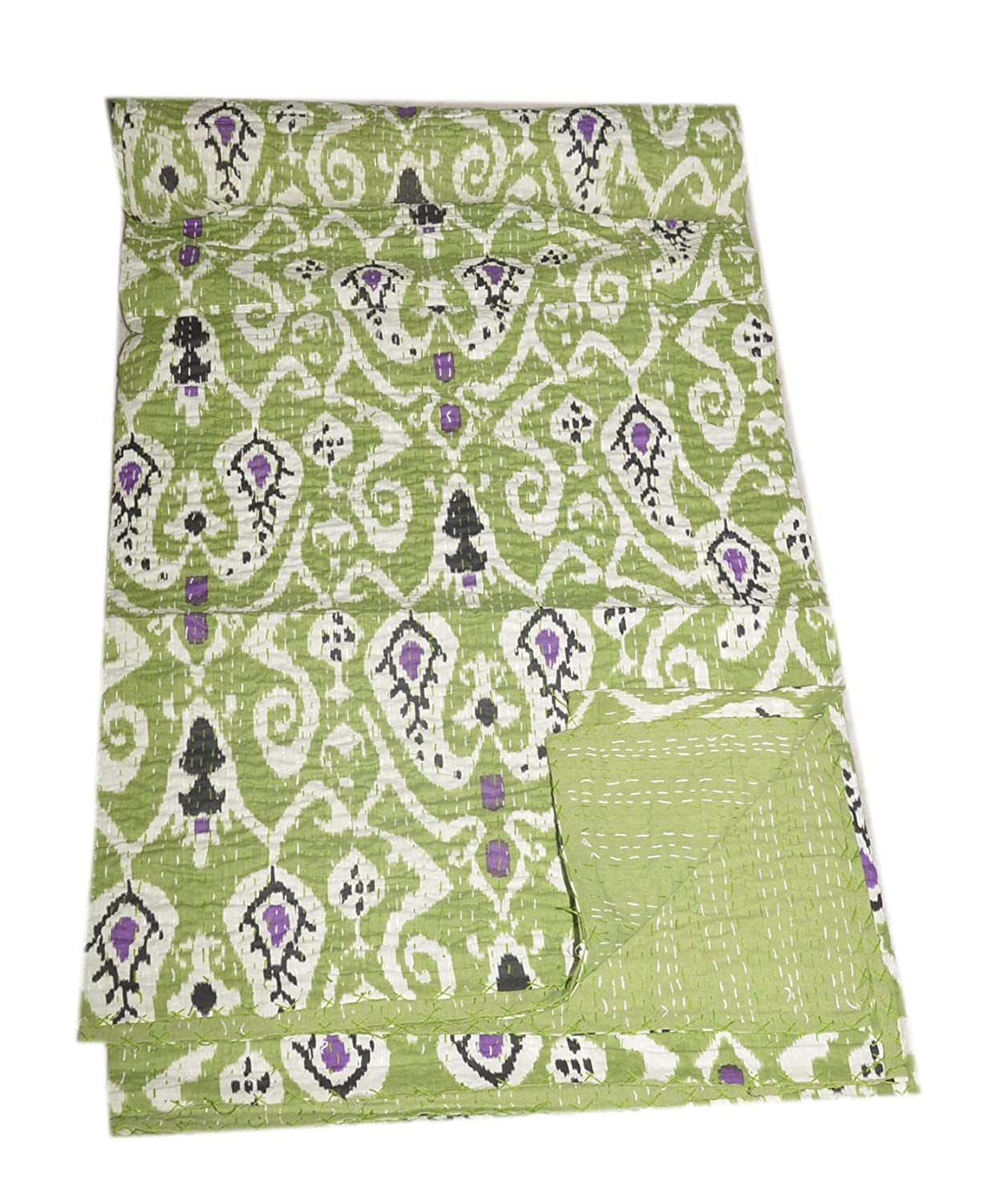 Tribal Asian Textiles Cotton Hand Block Ikat Print Queen Size Kantha Bed Cover Bed Throw Indian Quilt B0719VF7S9