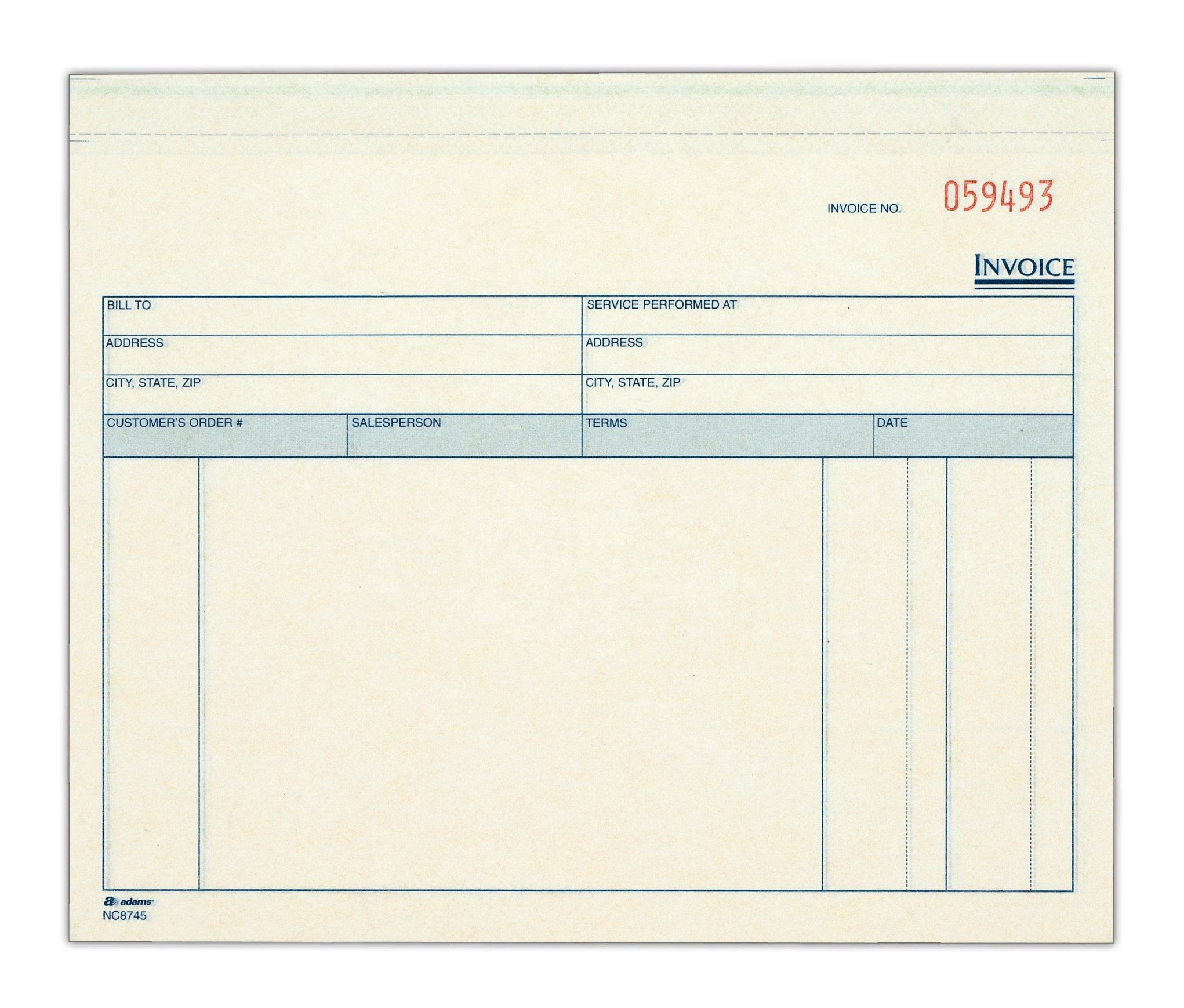 Adams Invoice for Services Unit Sets, 7.44 x 8.5 Inches, 3-Part, Carbonless, White/Canary/Pink, 50 Sets per Pack (NCT8745)