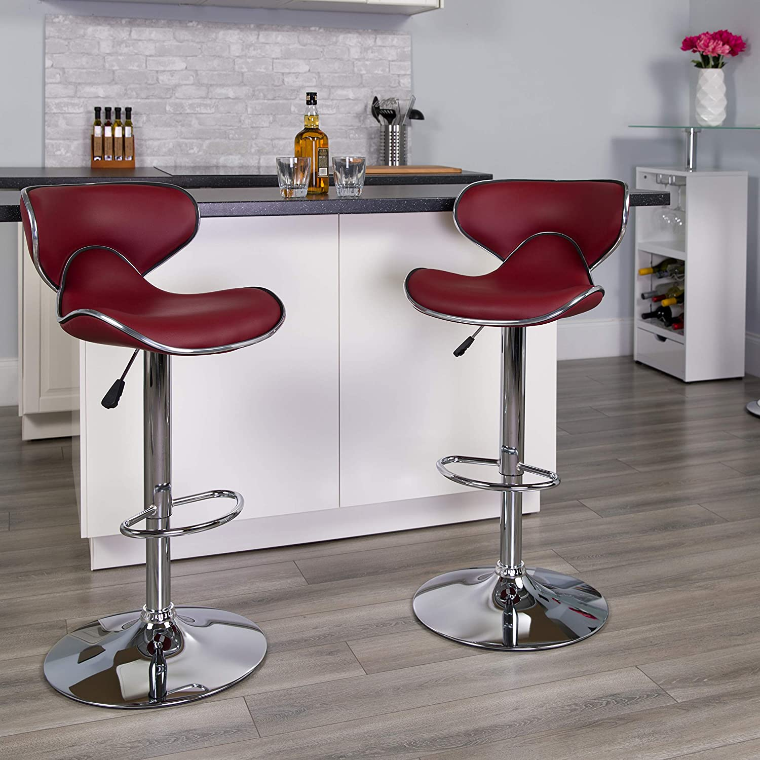 Flash Furniture Contemporary Cozy Mid-Back Burgundy Vinyl Adjustable Height Barstool with Chrome Base