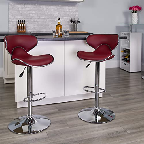 Flash Furniture Contemporary Cozy Mid-Back Burgundy Vinyl Adjustable Height Barstool