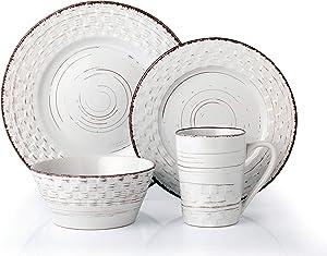 Lorren Home Trends Basket Dinnerware Set, White