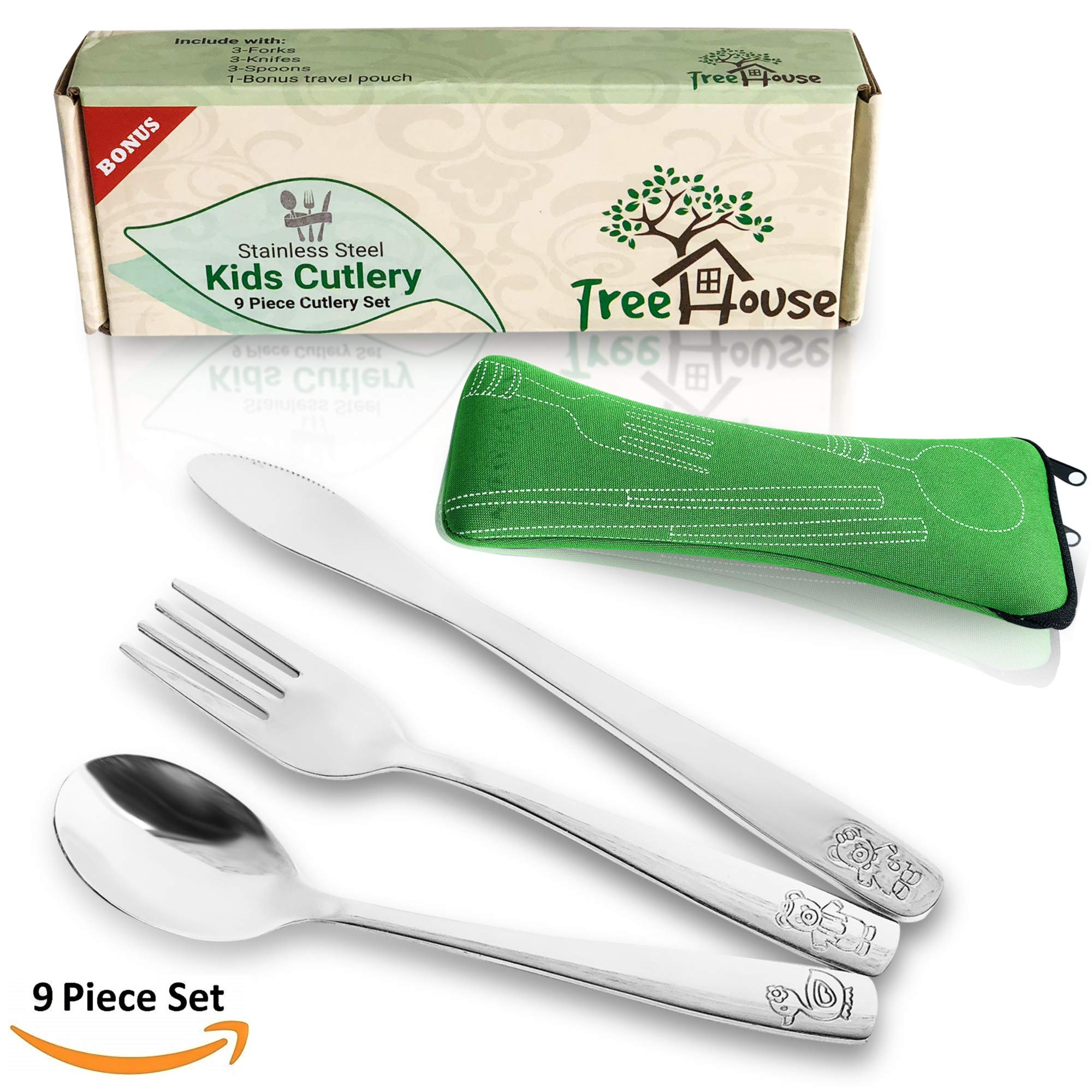 Kids Cutlery 9 Pack Stainless Steel Children's Flatware 3 Forks, 3 Knives and 3 Spoons Set Includes Travel Pouch for 3 Pieces for Picnics, Camping and Preschool. Utensils for Toddlers Baby Silverware