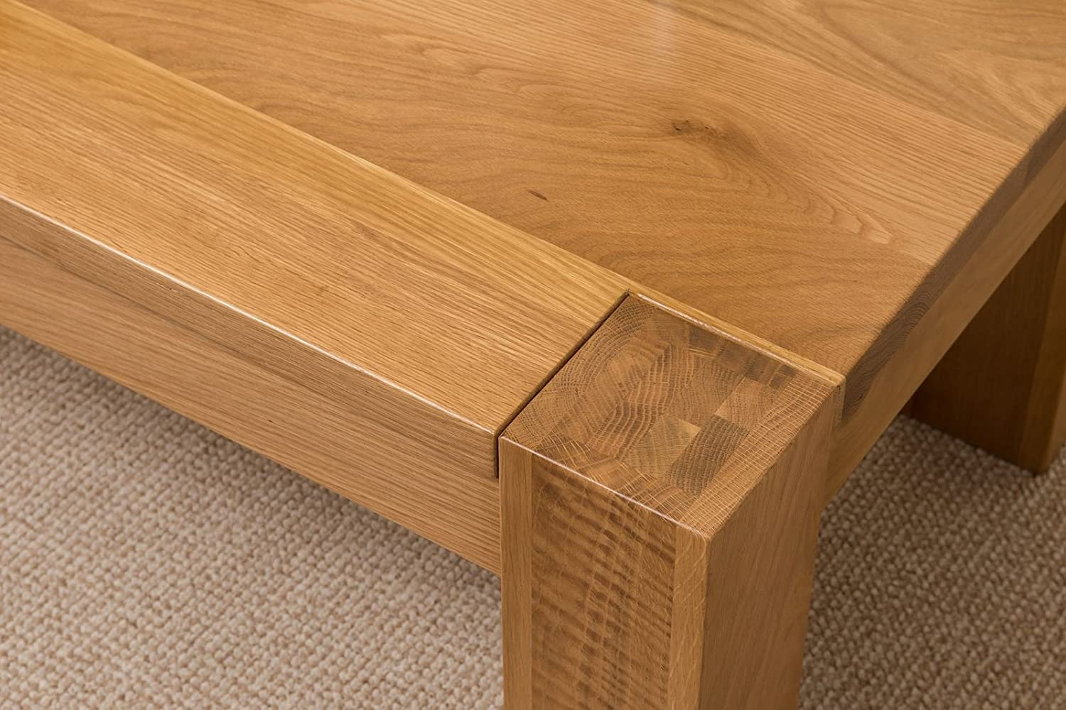 kuba chunky solid oak wood large coffee table unit wooden living