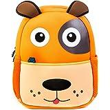 Premium Durable Waterproof Backpacks for Kids from Kiddizstore, Neoprene Cute Dog School Bag for Boys, Girls, Pre-School, Kindergarten, Traveling, Hiking, Camping, and Outdoor Daypack (Medium, Orange)