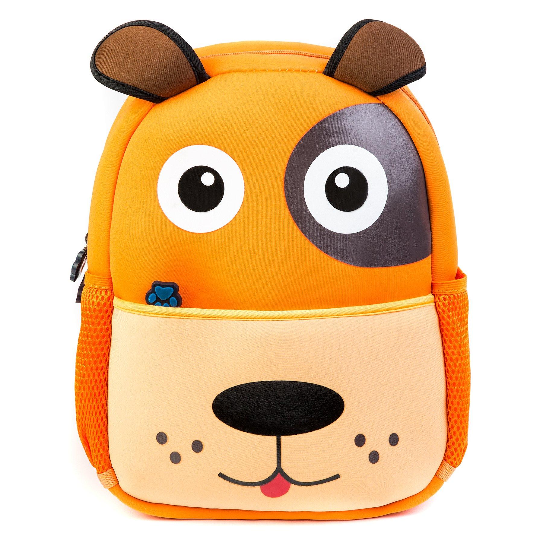 KiddizStore Premium Durable Waterproof Backpacks Kids from, Neoprene Cute Dog School Bag Boys, Girls, Pre-School, Kindergarten, Traveling, Hiking, Camping Outdoor Daypack (Large, Orange)