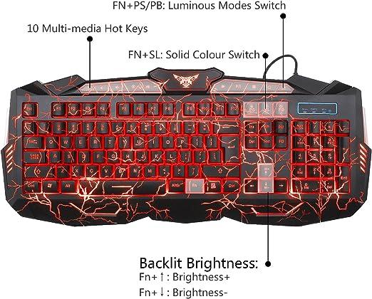 Gaming Teclado y Ratón Set MFTEK 3 colores luminoso QWERTY US Layout Teclado con 7 profesional Crack patrón ratón para PC Ordenador Gamer ratón Pad ...