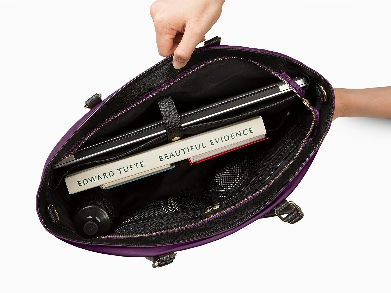 AB-W68-Black Women/'s 15.6 /& 17 Inch Business Computer Briefcase Bag with Crossbody Black Travel Travel Leather Canvas Organizer Handbag Purse for Work Archer Brighton Isabel Women/'s Laptop /& Tablet Zip Tote