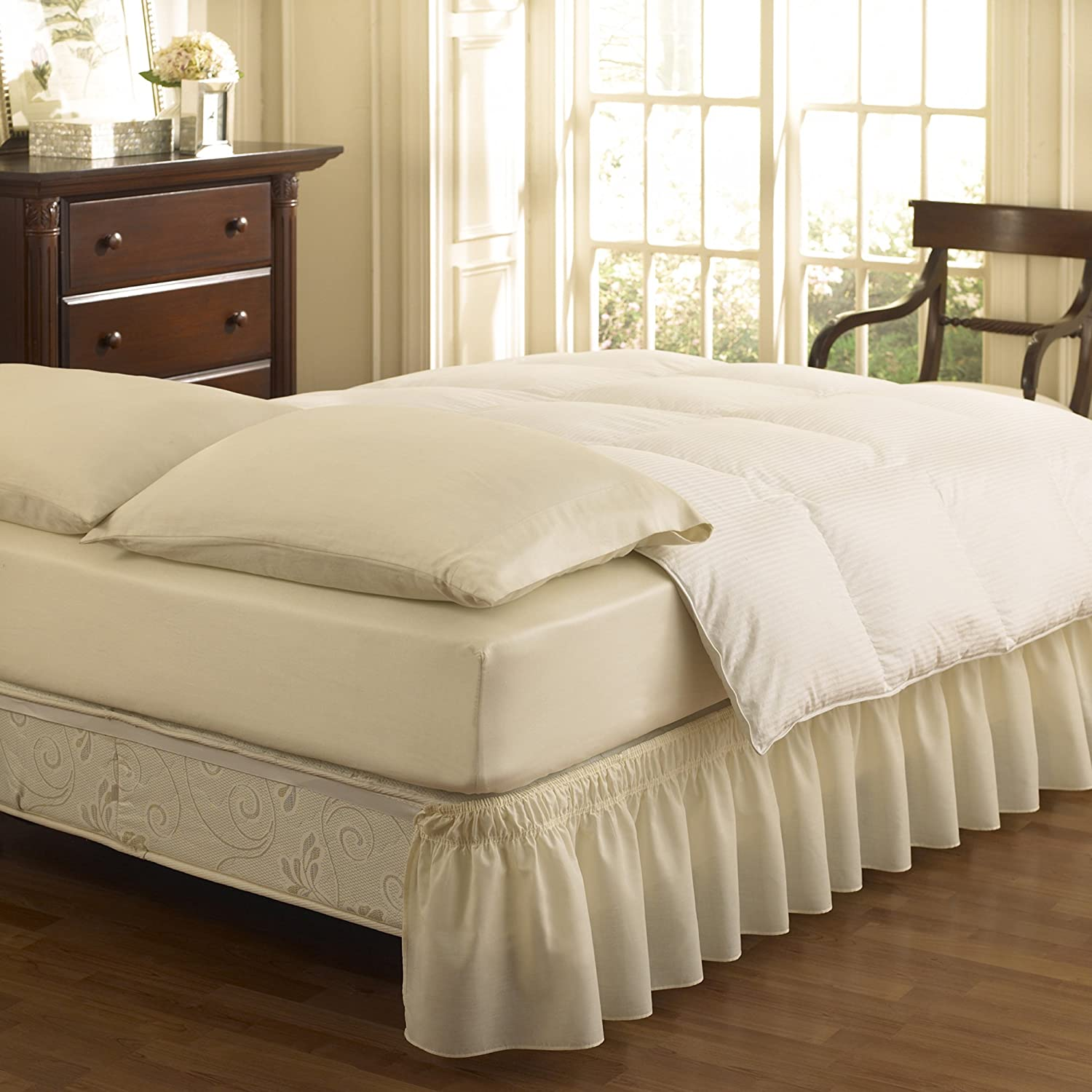 Easy Fit 11577QUEEN/KINGIV Wrap Around Solid Ruffled Queen/King Bed Skirt 80-Inch by 60-Inch with 18-Inch drop, Ivory Ellery Homestyles