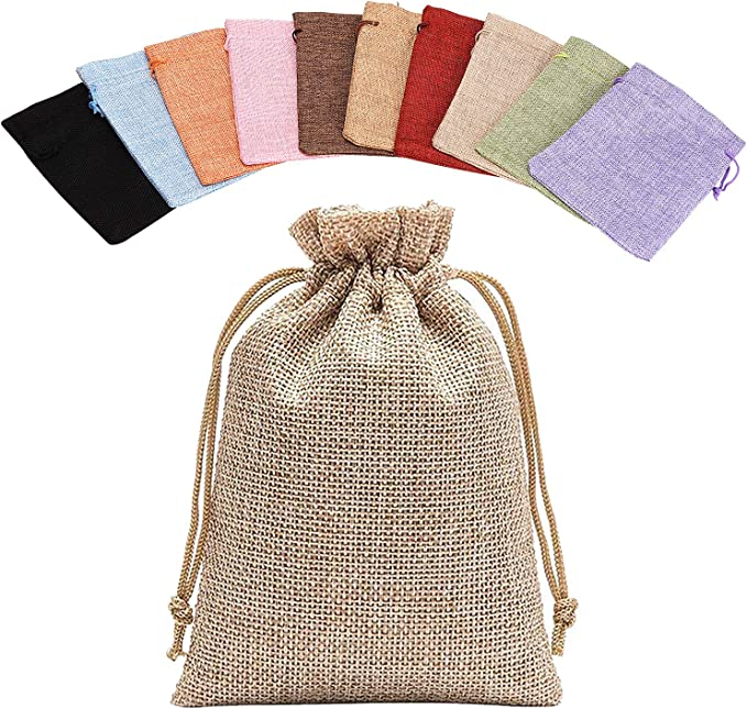 13x18cm 5x7 Noverlife 10PCS Colorful Burlap Bag Drawstring Gift Bags Jute Bag Hessian Linen Sacks Jewelry Pouches for Wedding Party Favors Candies DIY Crafts