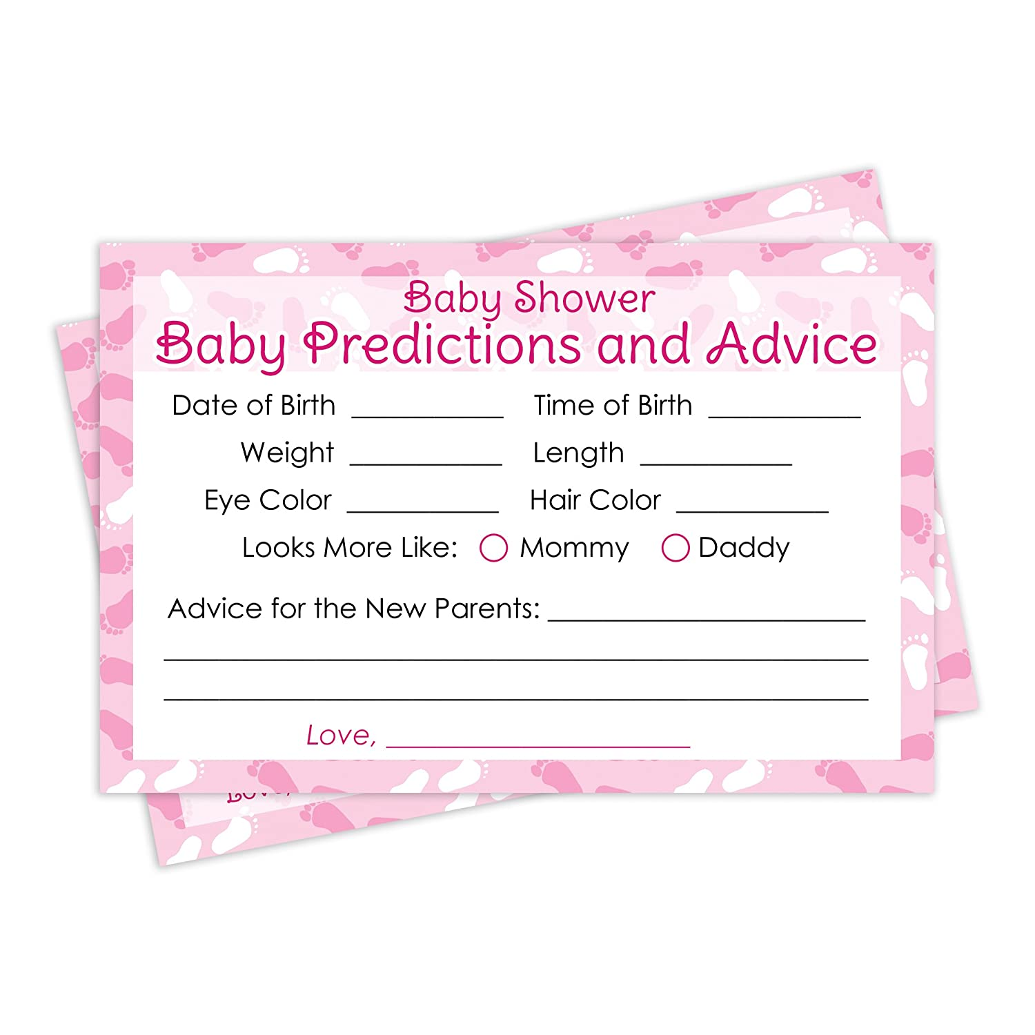 Amazon Baby Advice and Prediction Cards Pink Girl Baby Shower