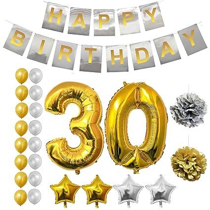 Decoracion 30 Cumpleaños - 24 piezas Fuentes de Fiesta para 30 años - Número 30 Globo