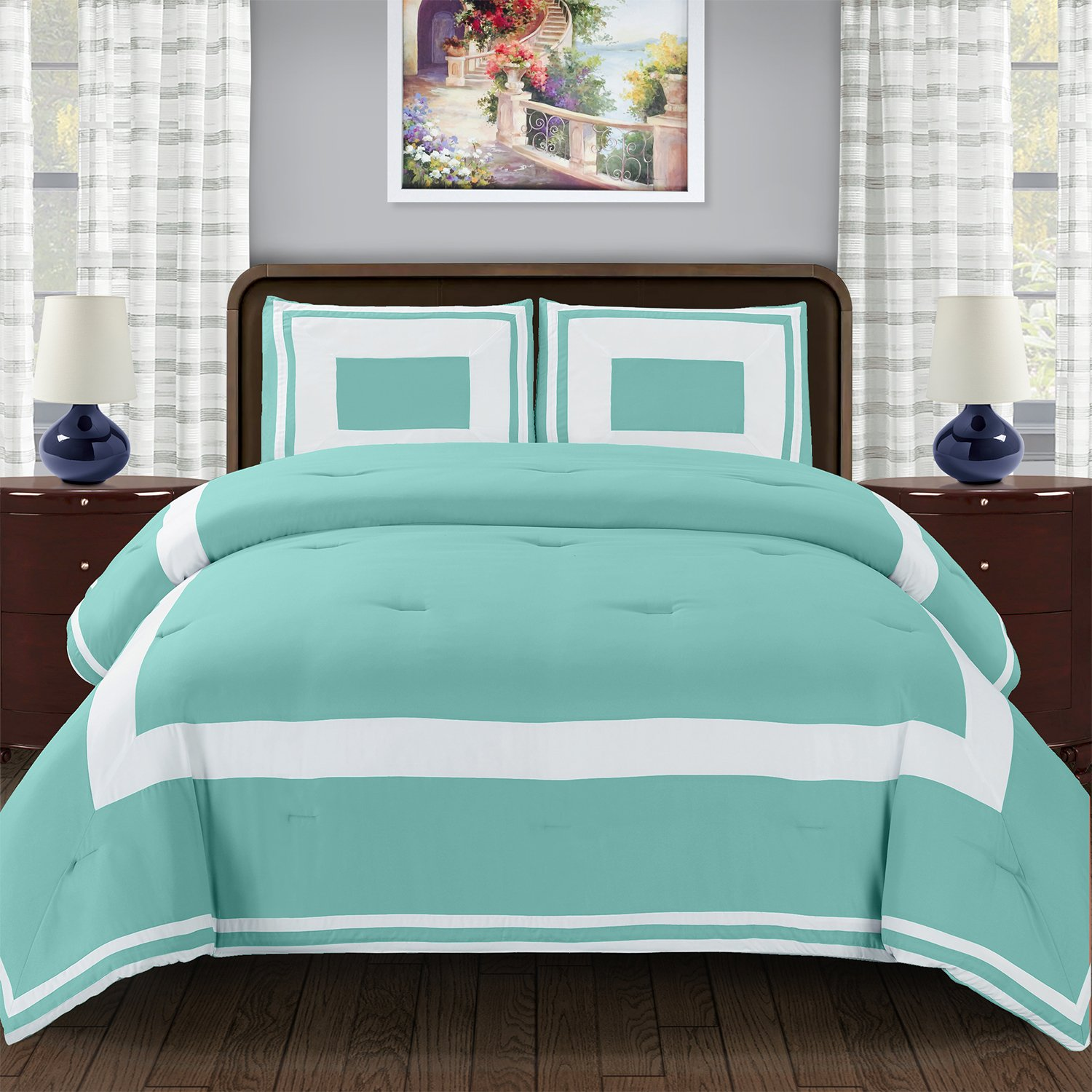 Blue Nile Mills Grammercy Down Alternative Comforter Set with Pillow Shams, Luxurious & Soft Brushed Microfiber, Wrinkle Resistant, Contemporary Block Design, Twin/Twin XL Size, Teal
