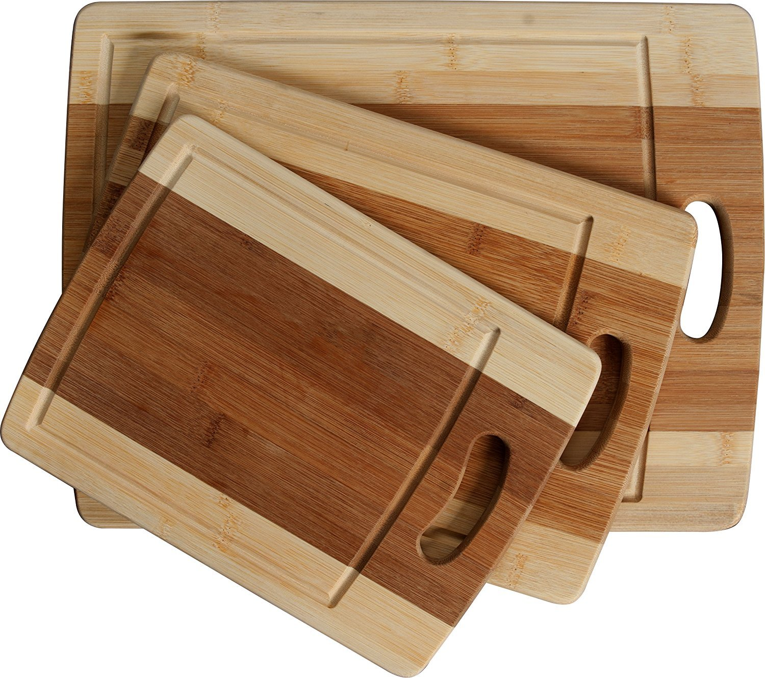 CC Boards 3-Piece Bamboo Cutting Board Set: Wooden butcher block boards with juice groove and handle; Slice veggies, bread or meat; great for serving cheese and crackers Lake House Products LHP004