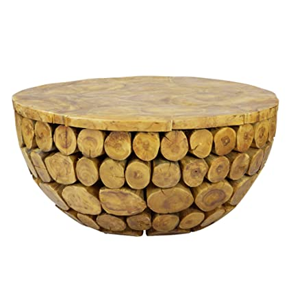 Amazon Com Sumatra Solid Natural Teak Wood Round Deco Coffee Table