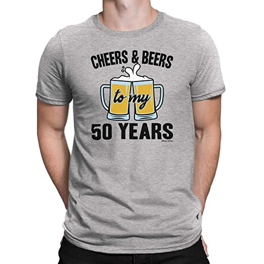 Buzz Shirts Mens 50th Birthday Small Black T Shirt Cheers And Beers Gift