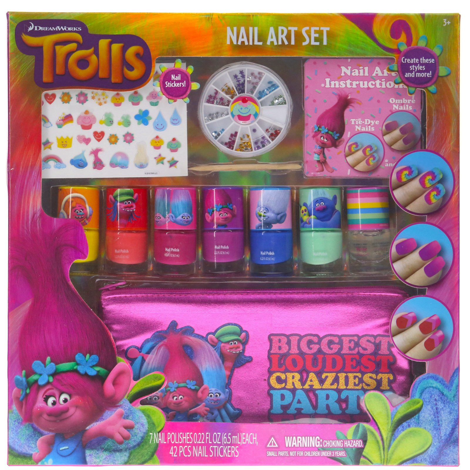 Townley Girl Dreamworks Trolls Nail Art Set, Includes: 240 Nail Gems, 42 Stickers, 7 Polishes, Carrying Bag