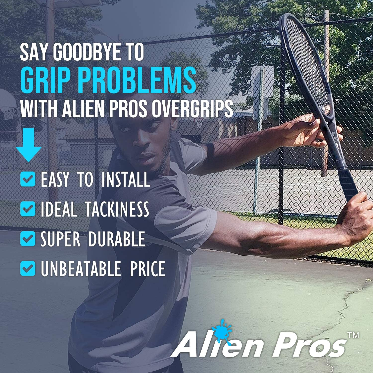 Alien Pros Tennis Racket Grip Tape (1 or 12 Grips) – Precut and Dry Feel Tennis Grip – Tennis Overgrip Grip Tape Tennis Racket – Wrap Your Racquet for ...