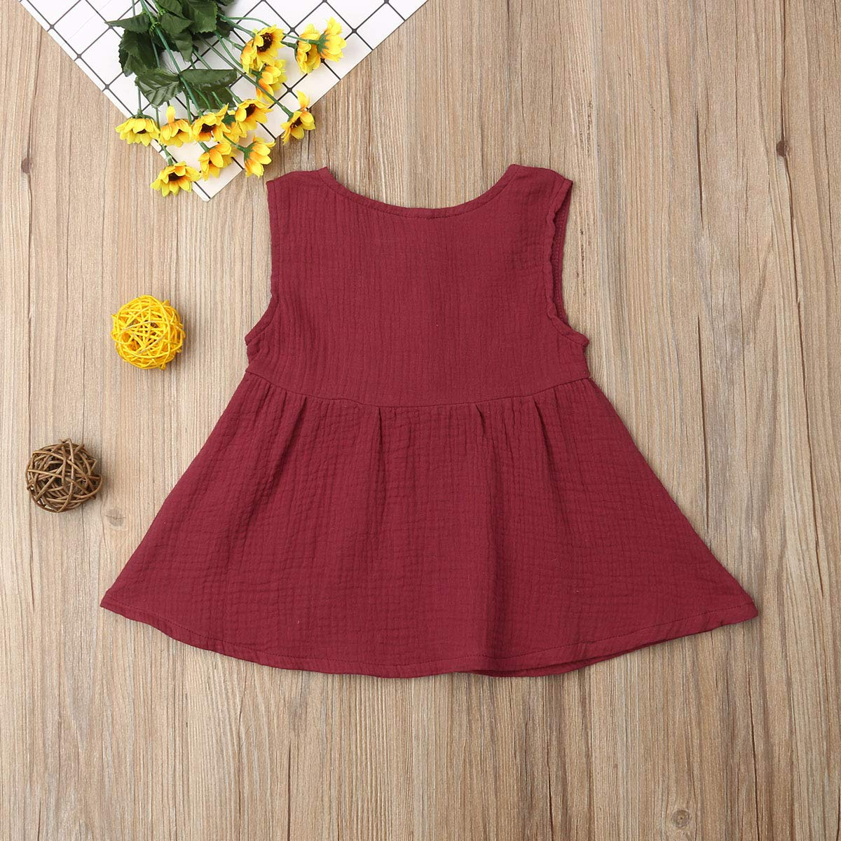 Tempura Toddler Kids Baby Girls Sleeveless Color Solid Vest Dress with Button Casual Princess Party Dress