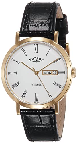 184dbabc9e16 Rotary GS05303 01 Windsor Gold Plated Black Leather Strap Watch Wrist Band  Men  Amazon.co.uk  Watches