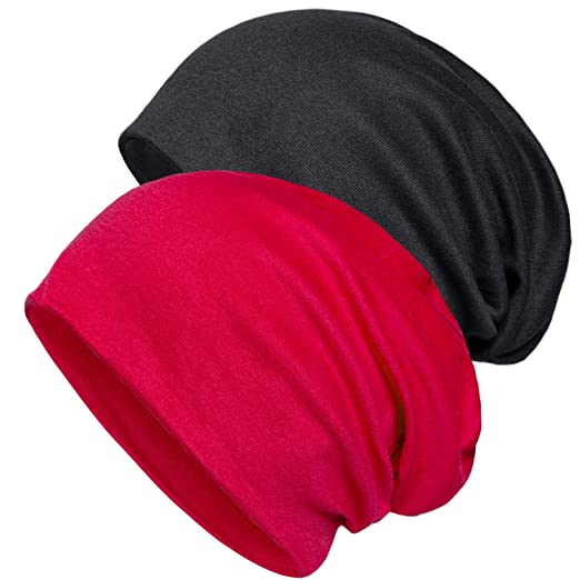 1600199c91e Senker 2 Pack of Baggy Soft Cotton Slouchy Stretch Beanie Hat