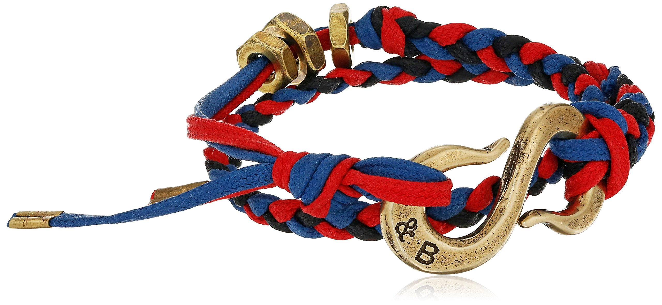 Giles and Brother Braided ''S'' Hook Red/Blue Cotton Classic Brass Wrap Bracelet, 15.5''
