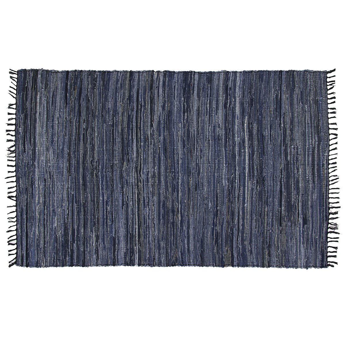 DG Home Goods Chindi 5 x 8 Blue Denim 100 Recycled Cotton Area Rag Rug Natural Woven Fabric