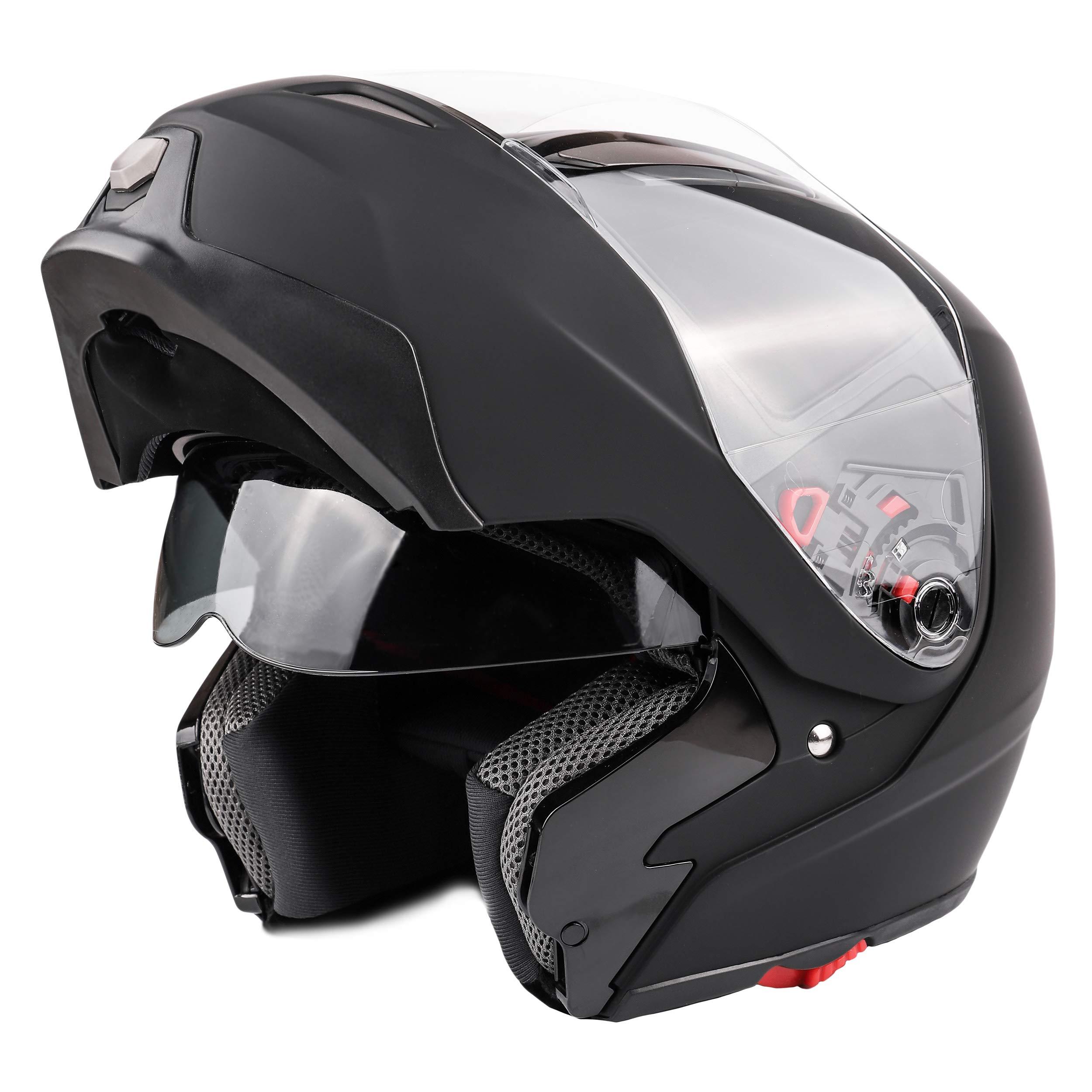 1Storm Motorcycle Street Bike Modular//Flip up Dual Visor//Sun Shield Full Face Helmet GlossyBlue, X-Small