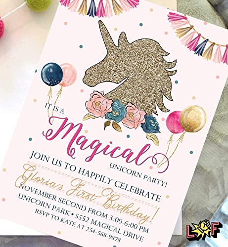 Image Unavailable Not Available For Color Unicorn Birthday Invitations