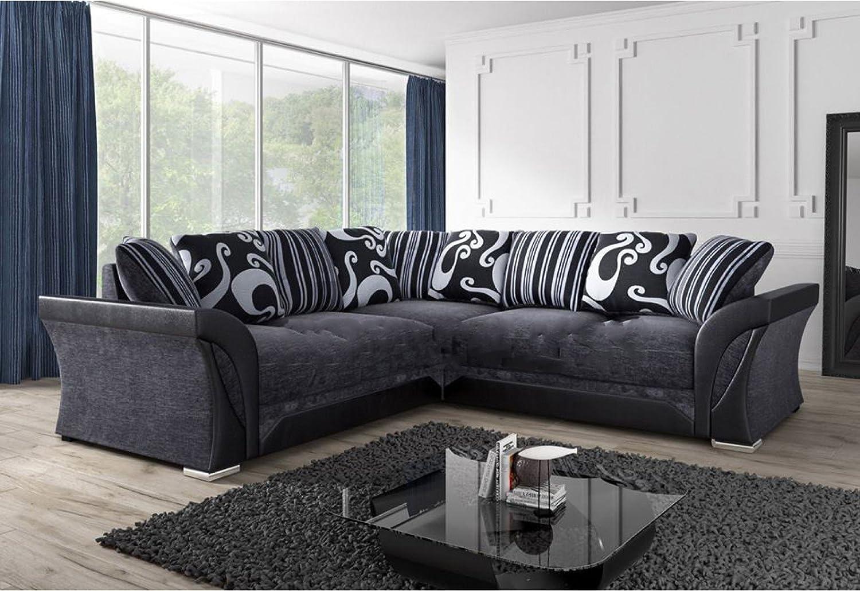 ShannonFarrow Corner Sofa Grey c2c 230 cmmade in EUFire resistantBlack Fabric Chenille Designer Settee