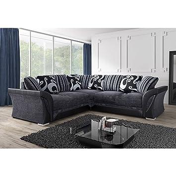 Shannon/Farrow Corner Sofa Grey/Black Fabric Chenille Designer Settee