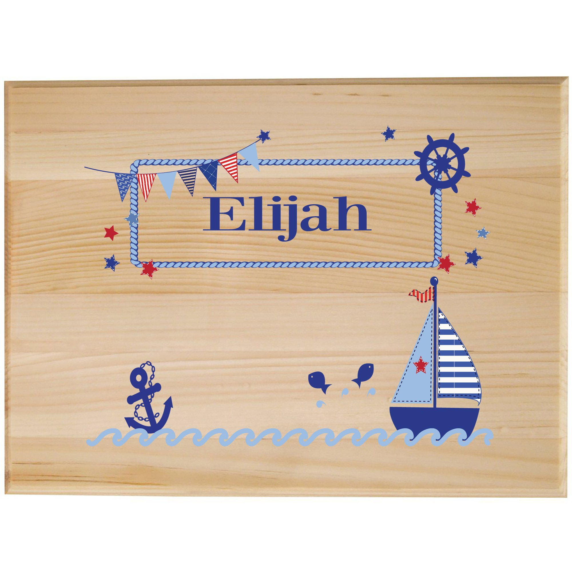 Personalized Childrens Wooden Room Sign Boys Sailboat