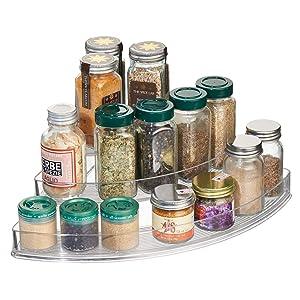 "iDesign Linus Plastic Stadium Spice Racks, 3-Tiered Corner Organizer for Kitchen, Pantry, Bathroom, Vanity, Office, Craft Room Storage Organization, 14"" x 10"" x 4"", Clear"